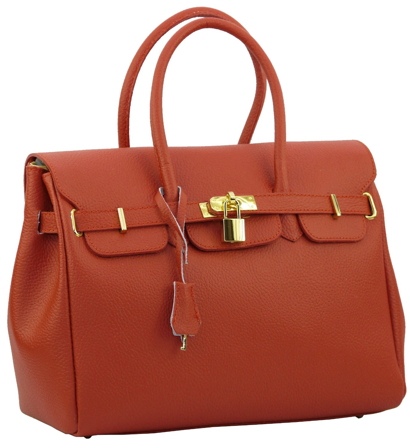2. Real Italian Leather Brealleather 0012 Small Tangerine Made in Florence, Italy.